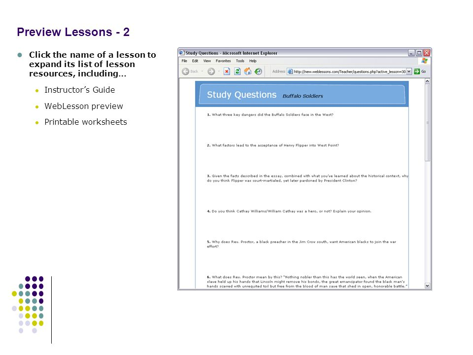 Preview Lessons - 2 Click the name of a lesson to expand its list of lesson resources, including… Instructors Guide WebLesson preview Printable worksheets