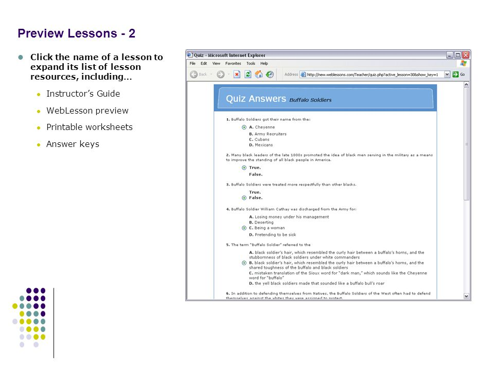 Preview Lessons - 2 Click the name of a lesson to expand its list of lesson resources, including… Instructors Guide WebLesson preview Printable worksheets Answer keys