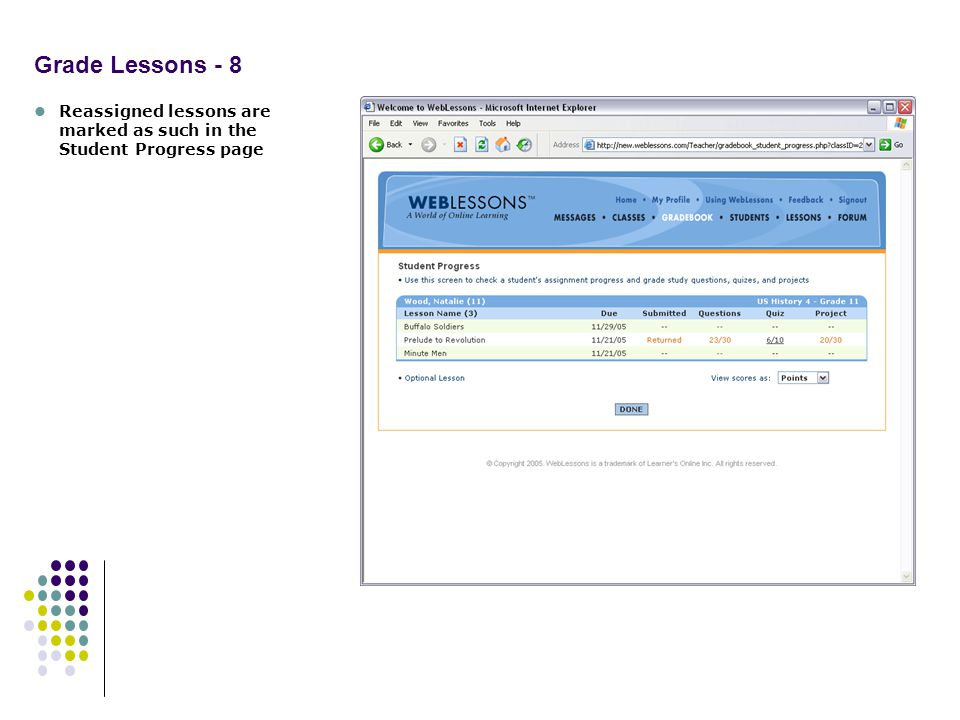 Grade Lessons - 8 Reassigned lessons are marked as such in the Student Progress page
