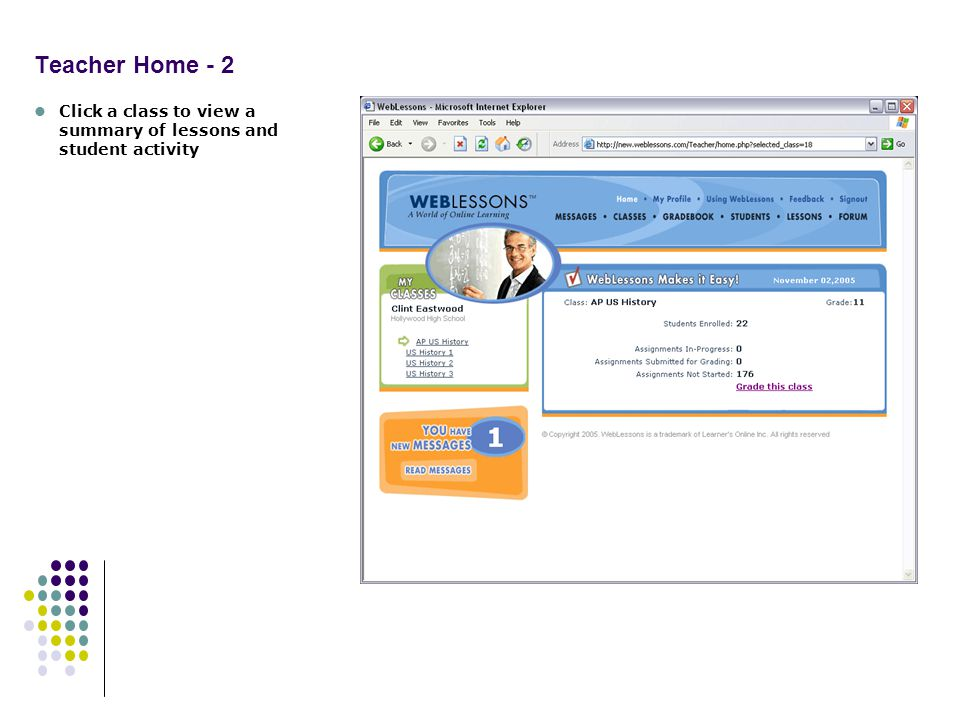 Teacher Home - 2 Click a class to view a summary of lessons and student activity