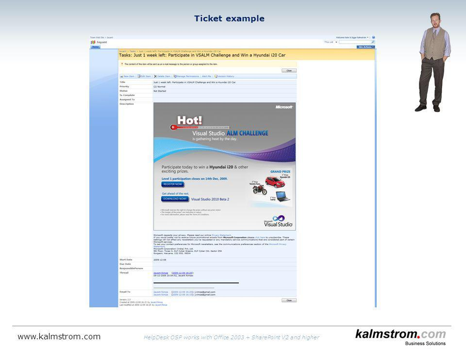 Ticket example   HelpDesk OSP works with Office SharePoint V2 and higher