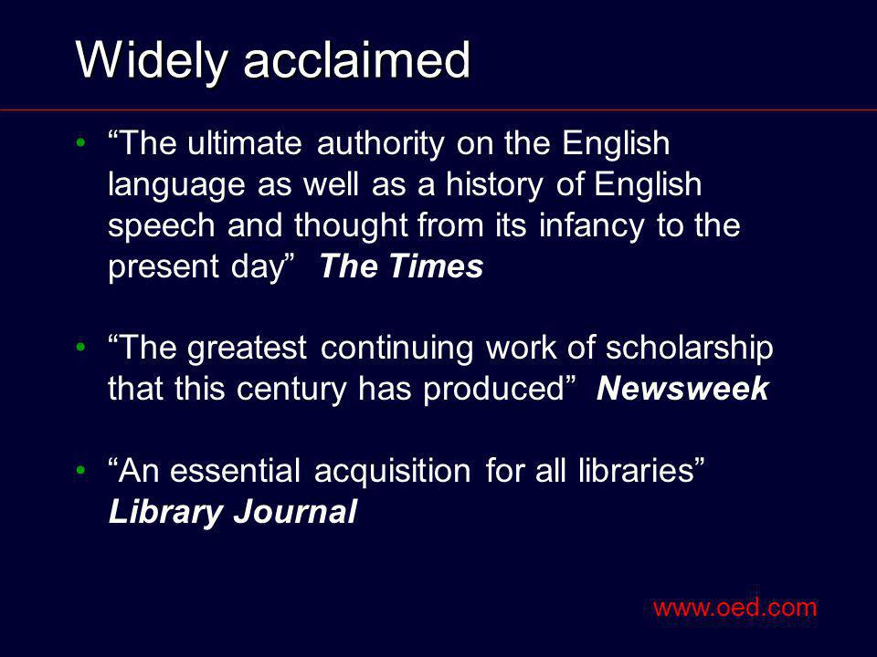 Widely acclaimed The ultimate authority on the English language as well as a history of English speech and thought from its infancy to the present day The Times The greatest continuing work of scholarship that this century has produced Newsweek An essential acquisition for all libraries Library Journal