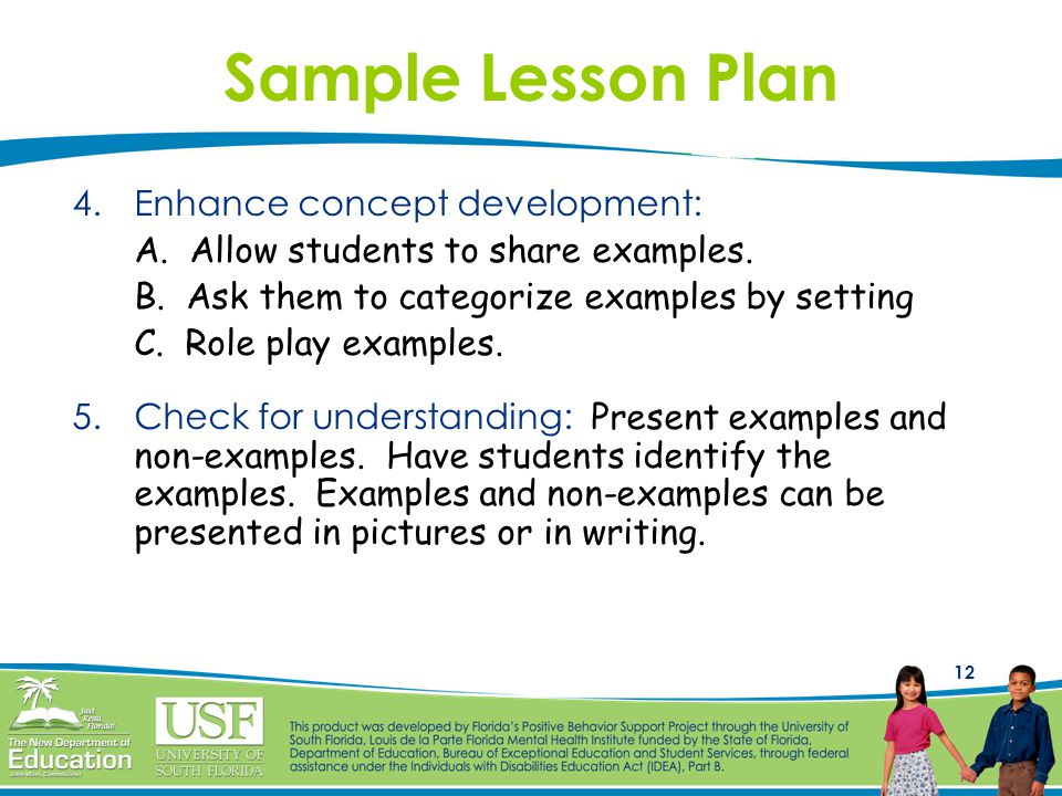 12 Sample Lesson Plan 4.Enhance concept development: A.