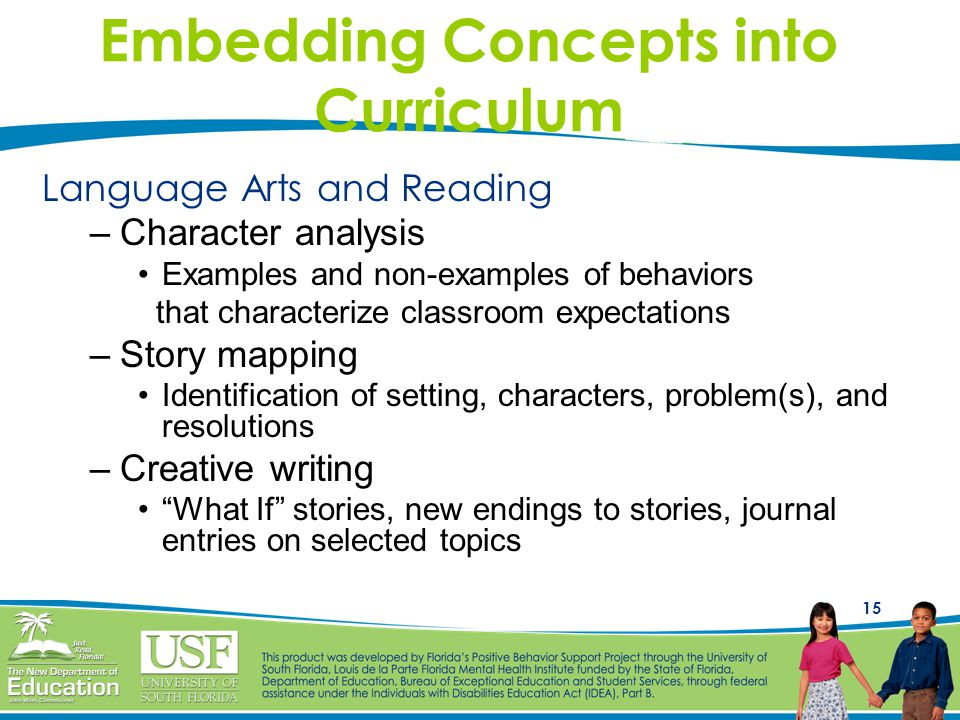 15 Embedding Concepts into Curriculum Language Arts and Reading –Character analysis Examples and non-examples of behaviors that characterize classroom expectations –Story mapping Identification of setting, characters, problem(s), and resolutions –Creative writing What If stories, new endings to stories, journal entries on selected topics