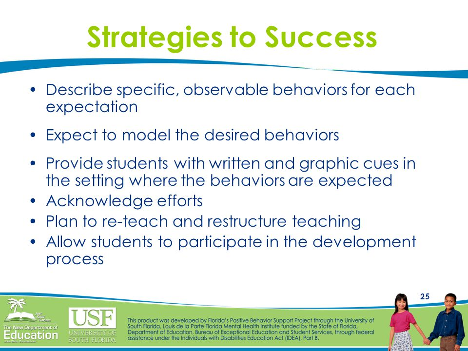 25 Strategies to Success Describe specific, observable behaviors for each expectation Expect to model the desired behaviors Provide students with written and graphic cues in the setting where the behaviors are expected Acknowledge efforts Plan to re-teach and restructure teaching Allow students to participate in the development process
