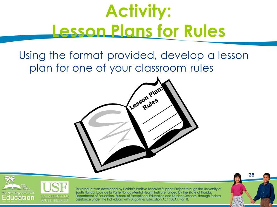 28 Activity: Lesson Plans for Rules Using the format provided, develop a lesson plan for one of your classroom rules Lesson Plan: Rules __________