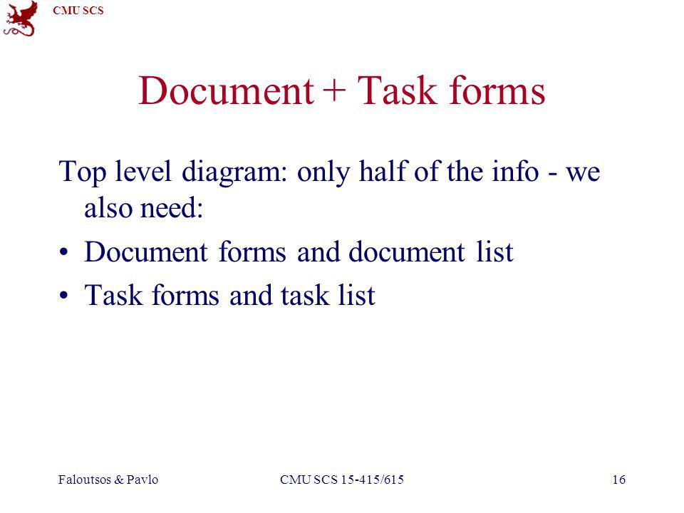 CMU SCS Faloutsos & PavloCMU SCS 15-415/61516 Document + Task forms Top level diagram: only half of the info - we also need: Document forms and document list Task forms and task list