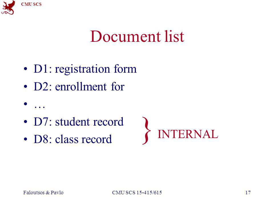 CMU SCS Faloutsos & PavloCMU SCS 15-415/61517 Document list D1: registration form D2: enrollment for … D7: student record D8: class record } INTERNAL