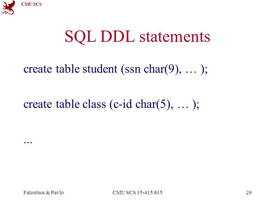 CMU SCS Faloutsos & PavloCMU SCS 15-415/61529 SQL DDL statements create table student (ssn char(9), … ); create table class (c-id char(5), … );...