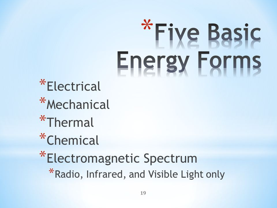 19 * Electrical * Mechanical * Thermal * Chemical * Electromagnetic Spectrum * Radio, Infrared, and Visible Light only