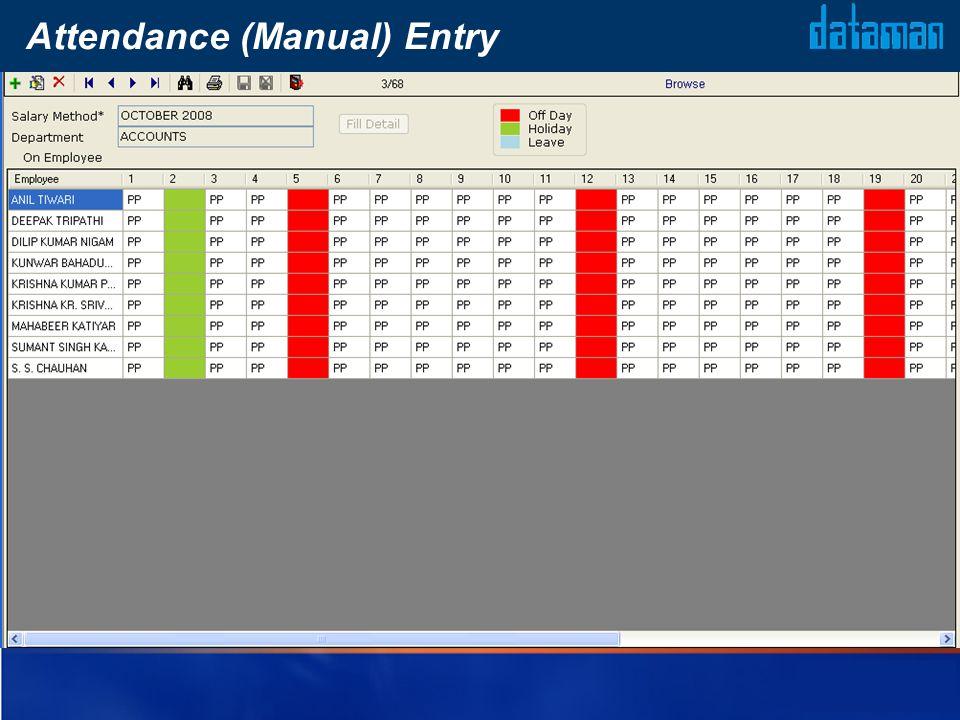 Attendance (Manual) Entry
