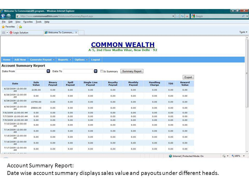 Account Summary Report: Date wise account summary displays sales value and payouts under different heads.