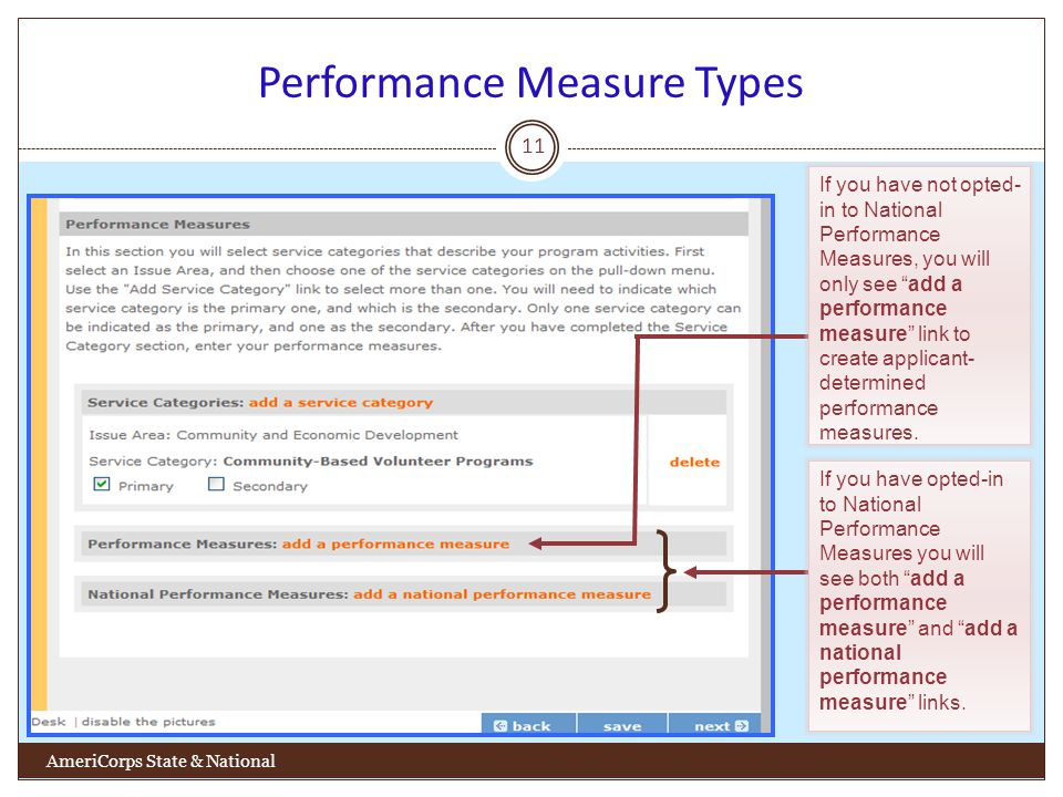 Performance Measure Types 11 AmeriCorps State & National If you have opted-in to National Performance Measures you will see both add a performance measure and add a national performance measure links.