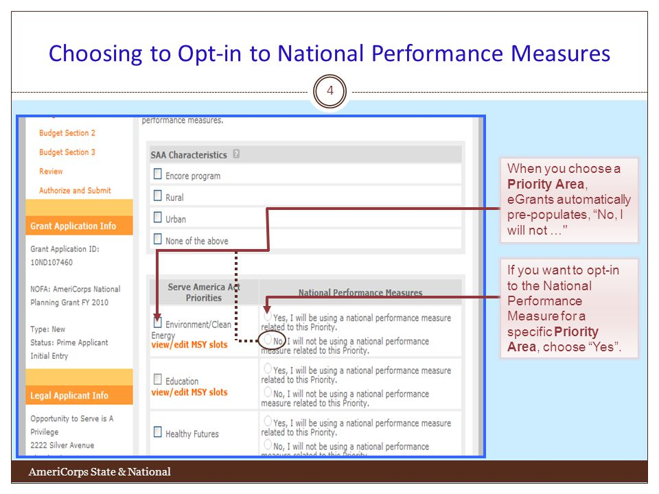 Choosing to Opt-in to National Performance Measures 4 AmeriCorps State & National When you choose a Priority Area, eGrants automatically pre-populates, No, I will not … If you want to opt-in to the National Performance Measure for a specific Priority Area, choose Yes.