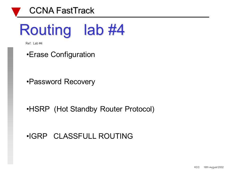Network Routing Protocols Review CCNA FastTrack CCNA FastTrack ProtocolIPX-RIPRIP v1RIP v2IGRPEIGRPOSPF Admin distance VLSM update metric method Auto summary Loop prevention KCC 18th August 2002