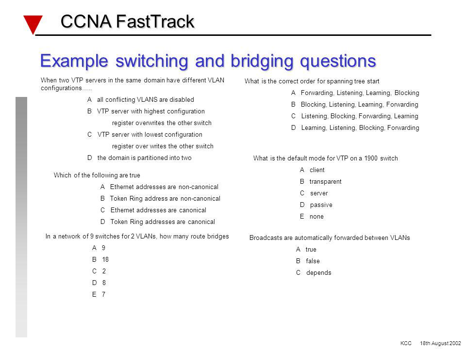 Switching and Bridging Review CCNA FastTrack CCNA FastTrack VLANs Broadcast domains/Collision domains Spanning Tree (802.1d/DEC/IBM) VTP modes (server, client, transparent) Trunking (ISL, 802.1q, FDDI, ATM) 1900 IOS quirks Configuration and defaults Switching methods Store and forward Cut through Fragment free KCC 18th August 2002