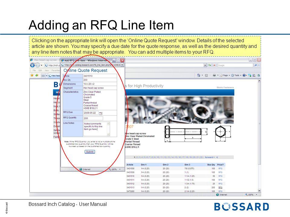 Bossard Inch Catalog User Manual  © Bossard Bossard Inch