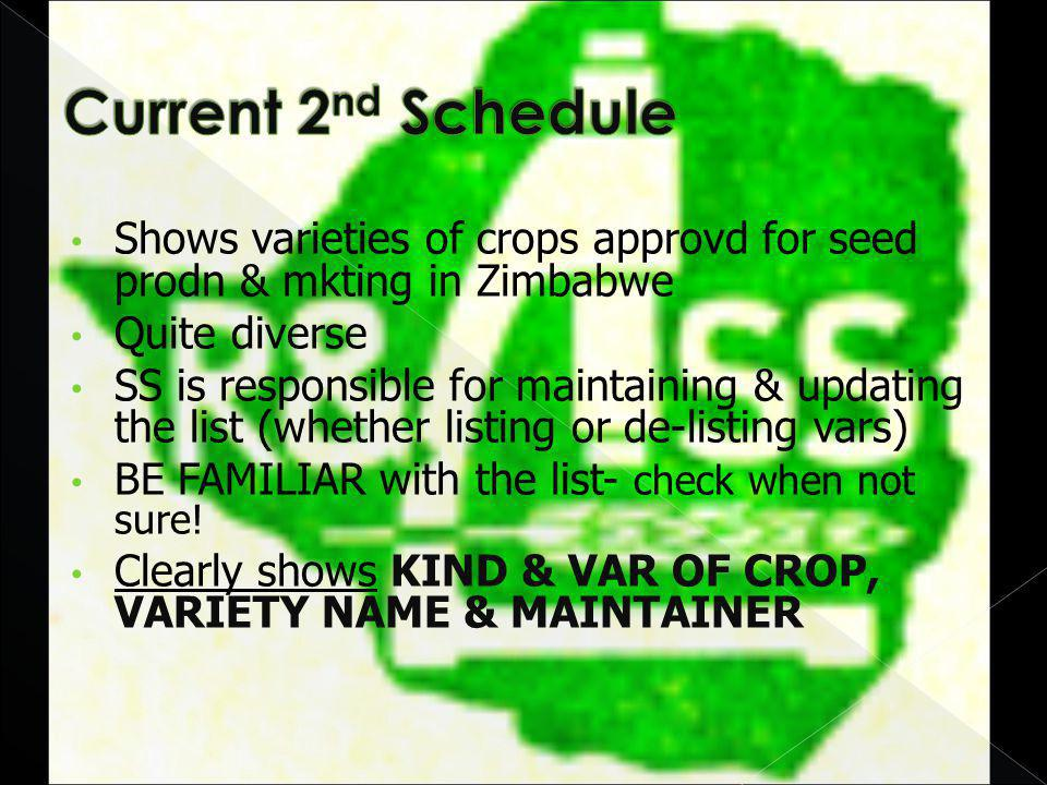 Shows varieties of crops approvd for seed prodn & mkting in Zimbabwe Quite diverse SS is responsible for maintaining & updating the list (whether listing or de-listing vars) BE FAMILIAR with the list- check when not sure.