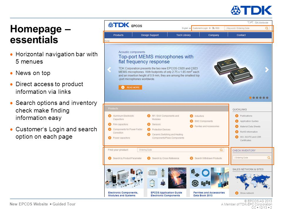 New EPCOS Website Guided Tour 11,80 0,0011,80 7,40 11,80 0,00 8,38 6,00 © EPCOS AG 2013 A Member of TDK-EPC Corporation CC 12/13 2 5,00 Homepage – essentials Horizontal navigation bar with 5 menues News on top Direct access to product information via links Search options and inventory check make finding information easy Customers Login and search option on each page