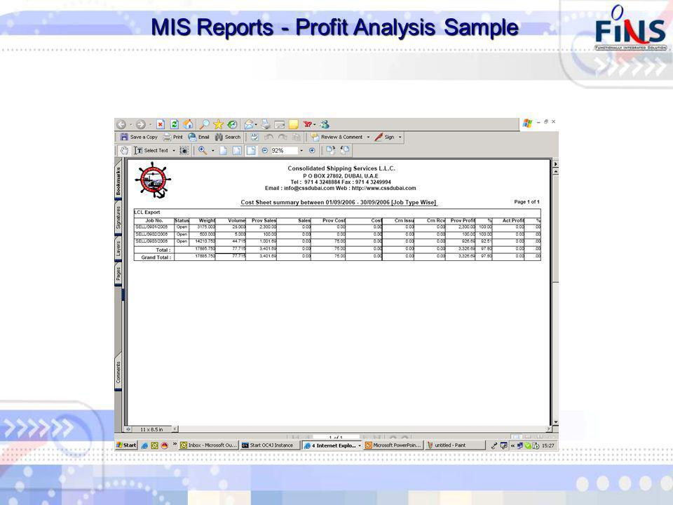 MIS Reports - Profit Analysis Sample MIS Reports - Profit Analysis Sample