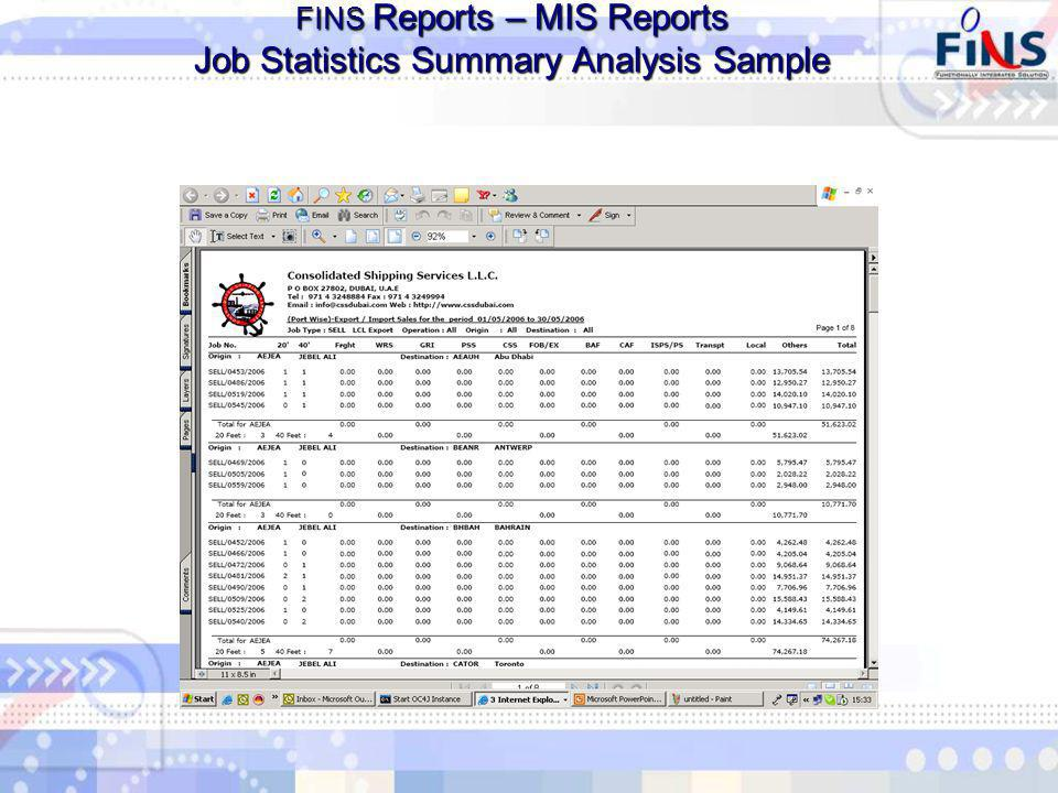 FINS Reports – MIS Reports Job Statistics Summary Analysis Sample