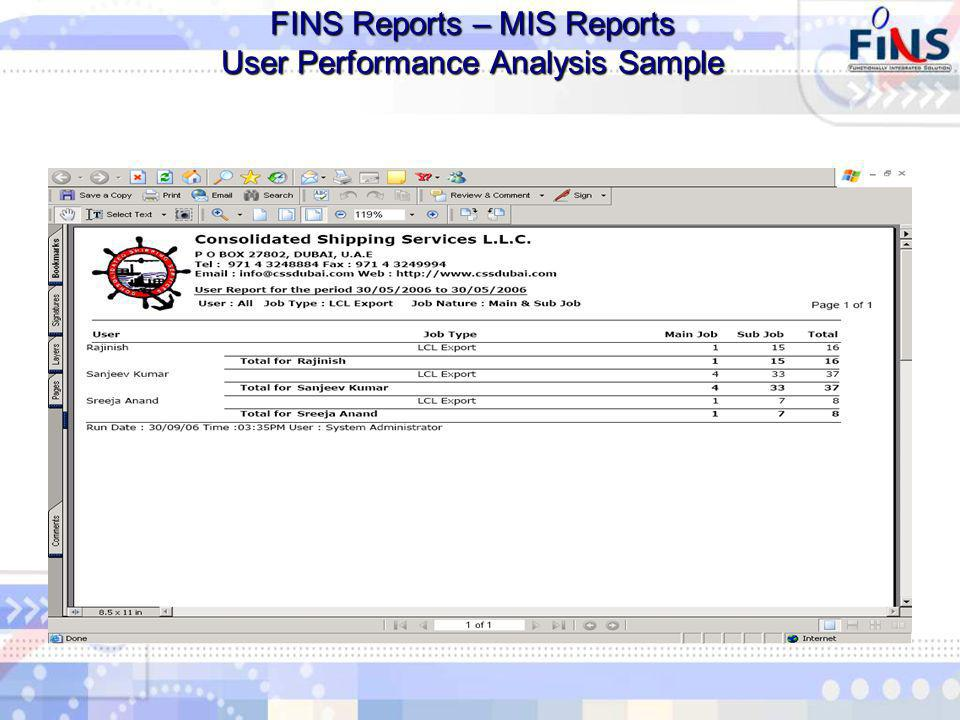 FINS Reports – MIS Reports User Performance Analysis Sample