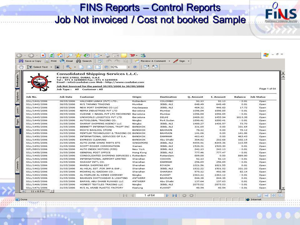 FINS Reports – Control Reports Job Not invoiced / Cost not booked Sample