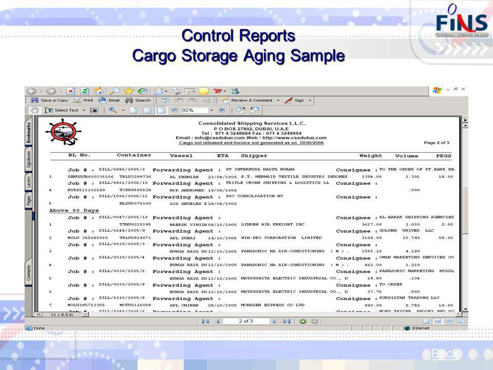Control Reports Cargo Storage Aging Sample Back
