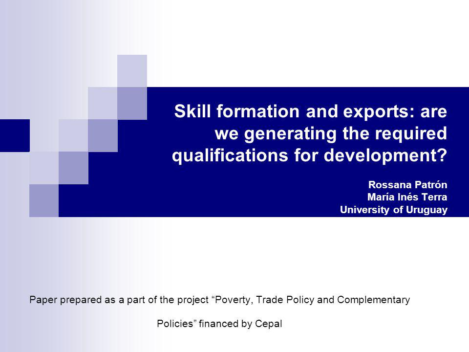 Skill formation and exports: are we generating the required qualifications for development.