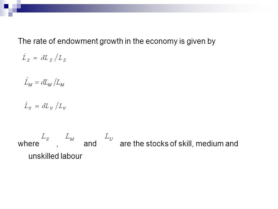 The rate of endowment growth in the economy is given by where, and are the stocks of skill, medium and unskilled labour