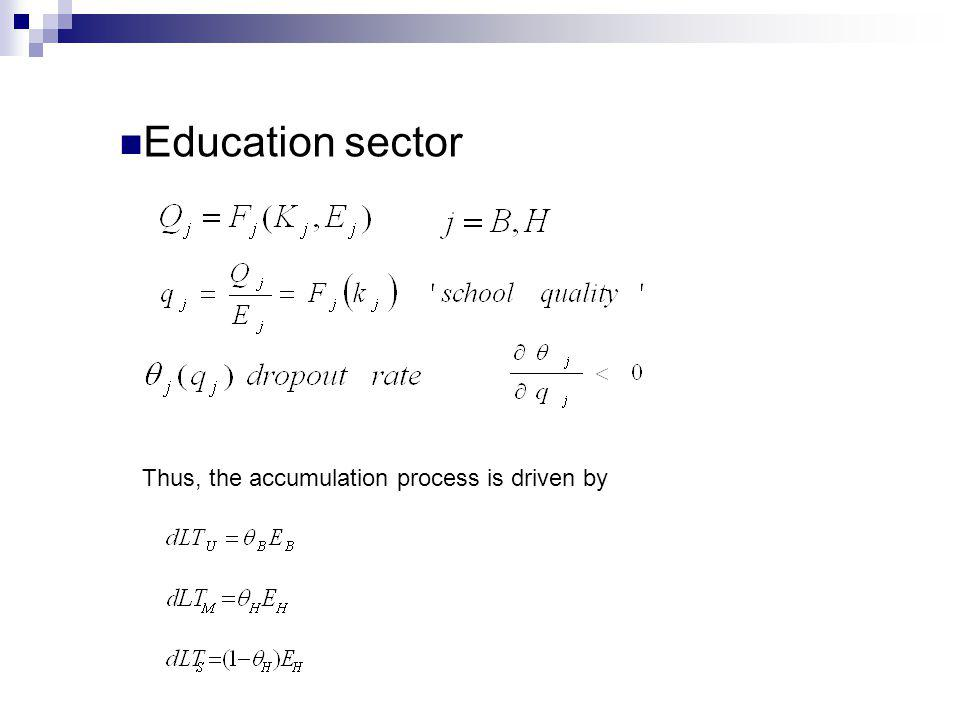 Thus, the accumulation process is driven by Education sector