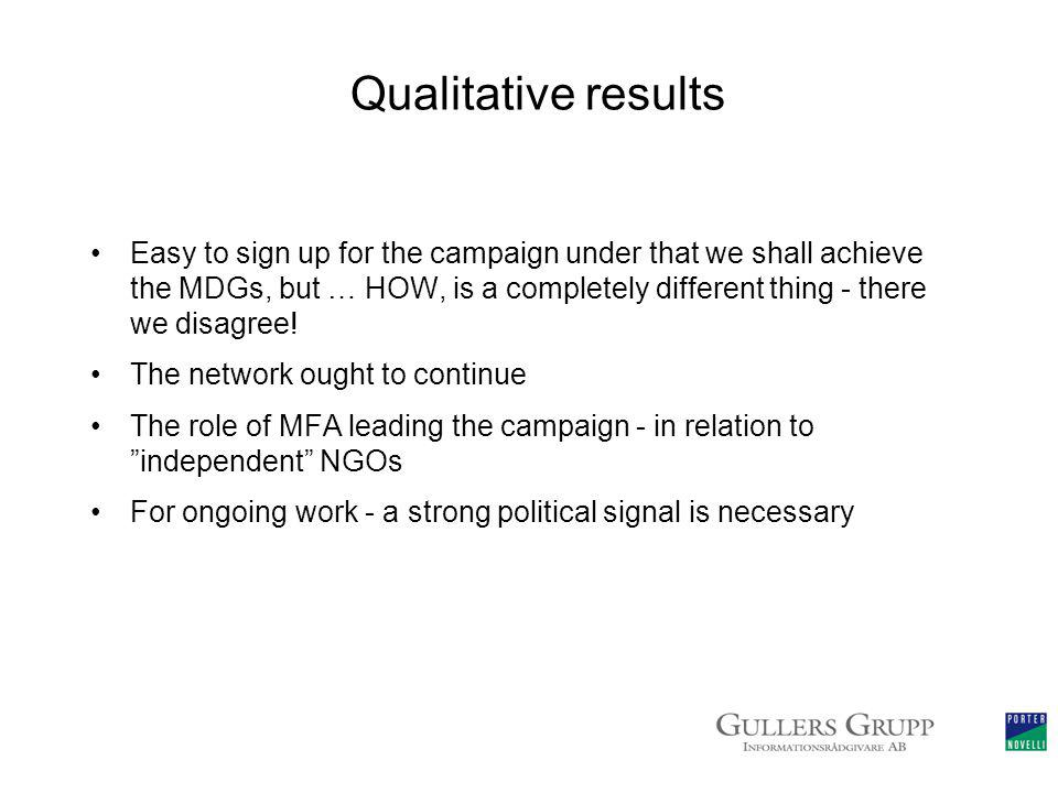 Qualitative results Easy to sign up for the campaign under that we shall achieve the MDGs, but … HOW, is a completely different thing - there we disagree.