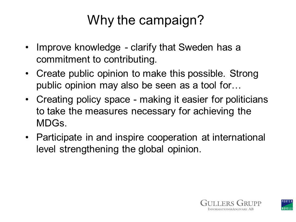 Why the campaign. Improve knowledge - clarify that Sweden has a commitment to contributing.