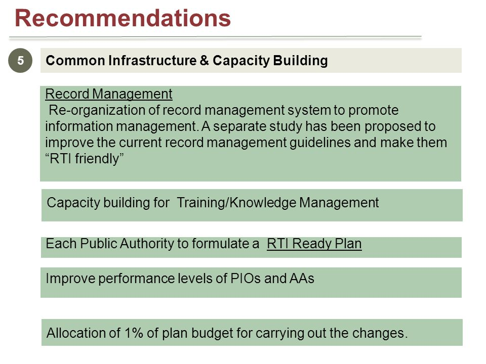 Common Infrastructure & Capacity Building 5 Capacity building for Training/Knowledge Management Each Public Authority to formulate a RTI Ready Plan Improve performance levels of PIOs and AAs Allocation of 1% of plan budget for carrying out the changes.