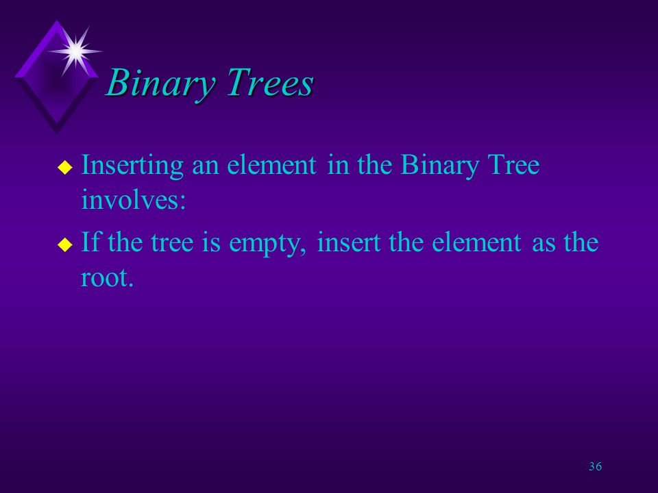 35 Binary Trees u How to insert something in the list.