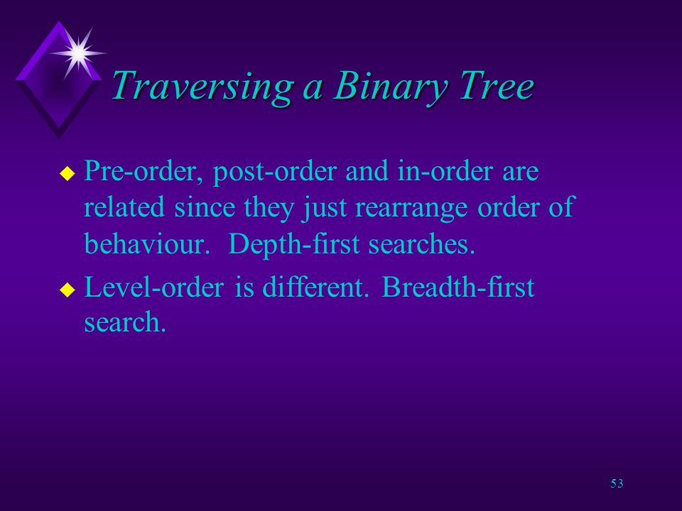 52 Traversing a Binary Tree u Four sorts of route through a tree: v In-order.