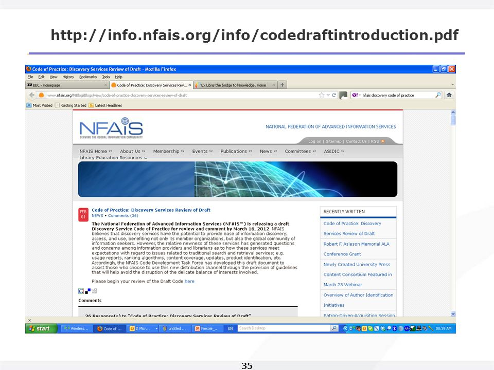 35 http://info.nfais.org/info/codedraftintroduction.pdf