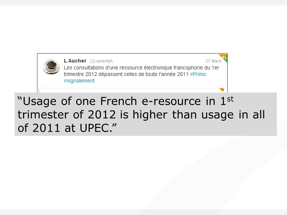Usage of one French e-resource in 1 st trimester of 2012 is higher than usage in all of 2011 at UPEC.