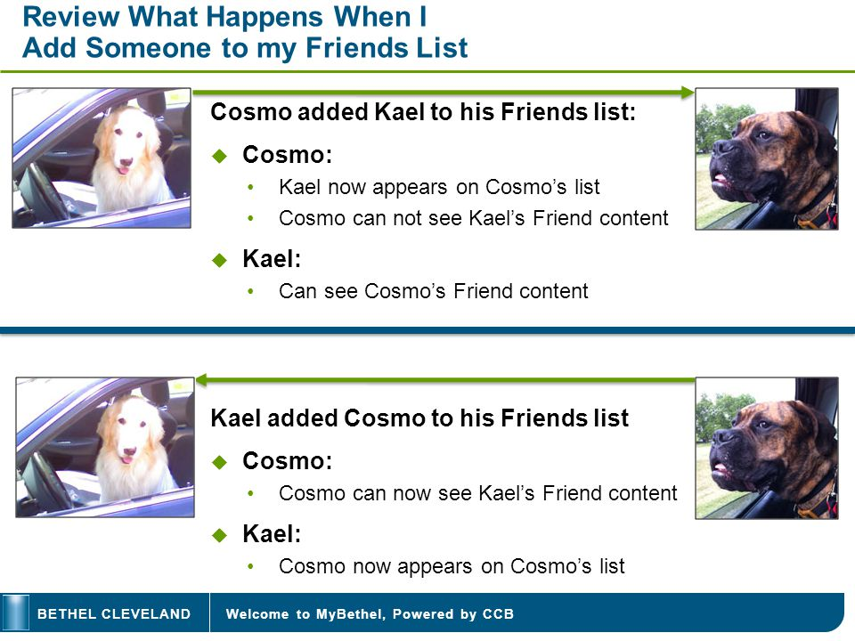 Welcome to MyBethel, Powered by CCBBETHEL CLEVELAND Review What Happens When I Add Someone to my Friends List Cosmo added Kael to his Friends list: Cosmo: Kael now appears on Cosmos list Cosmo can not see Kaels Friend content Kael: Can see Cosmos Friend content Kael added Cosmo to his Friends list Cosmo: Cosmo can now see Kaels Friend content Kael: Cosmo now appears on Cosmos list