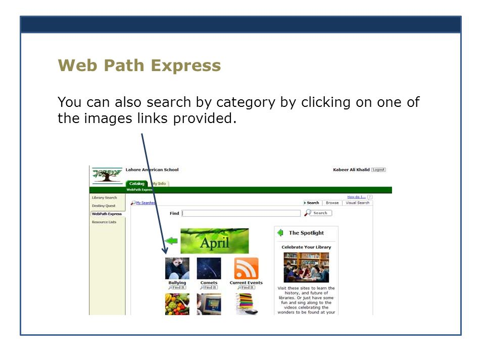 Web Path Express You can also search by category by clicking on one of the images links provided.
