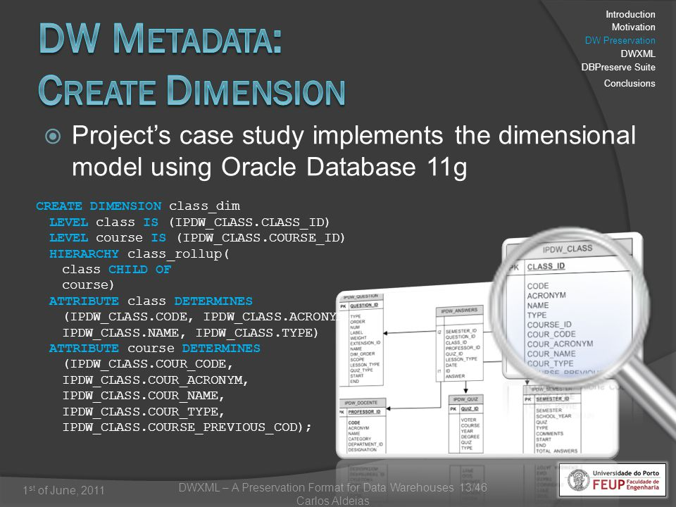 DWXML – A Preservation Format for Data Warehouses 13/46 Carlos Aldeias 1 st of June, 2011 Projects case study implements the dimensional model using Oracle Database 11g CREATE DIMENSION class_dim LEVEL class IS (IPDW_CLASS.CLASS_ID) LEVEL course IS (IPDW_CLASS.COURSE_ID) HIERARCHY class_rollup( class CHILD OF course) ATTRIBUTE class DETERMINES (IPDW_CLASS.CODE, IPDW_CLASS.ACRONYM, IPDW_CLASS.NAME, IPDW_CLASS.TYPE) ATTRIBUTE course DETERMINES (IPDW_CLASS.COUR_CODE, IPDW_CLASS.COUR_ACRONYM, IPDW_CLASS.COUR_NAME, IPDW_CLASS.COUR_TYPE, IPDW_CLASS.COURSE_PREVIOUS_COD); Introduction Motivation DW Preservation DWXML DBPreserve Suite Conclusions