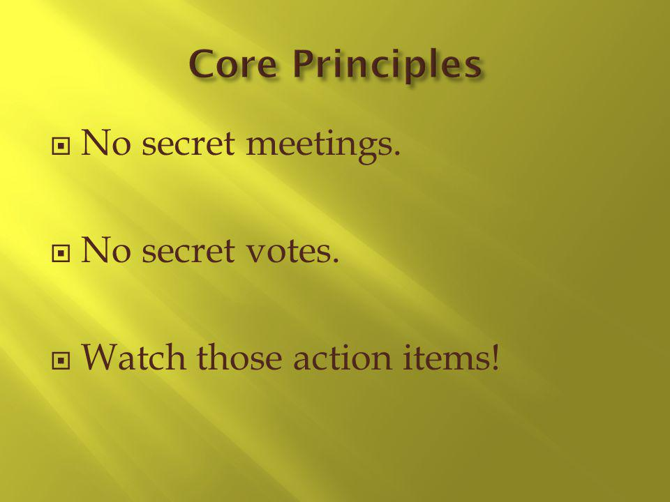 No secret meetings. No secret votes. Watch those action items!