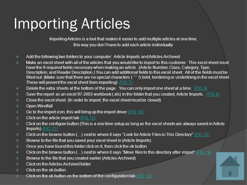 Importing Articles Importing Articles is a tool that makes it easier to add multiple articles at one time, this way you dont have to add each article individually.
