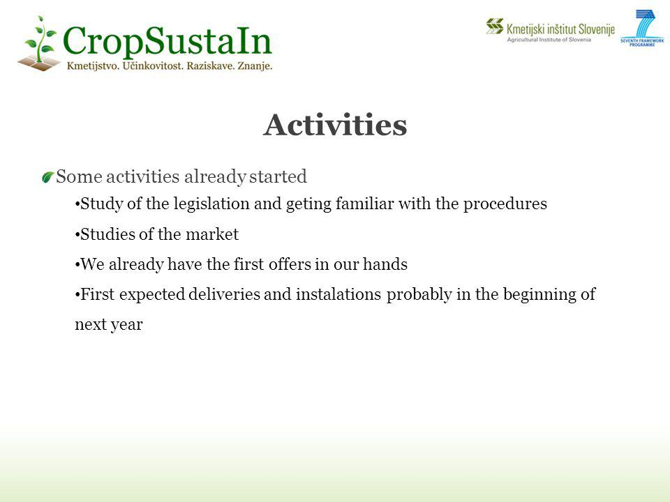Activities Some activities already started Study of the legislation and geting familiar with the procedures Studies of the market We already have the first offers in our hands First expected deliveries and instalations probably in the beginning of next year