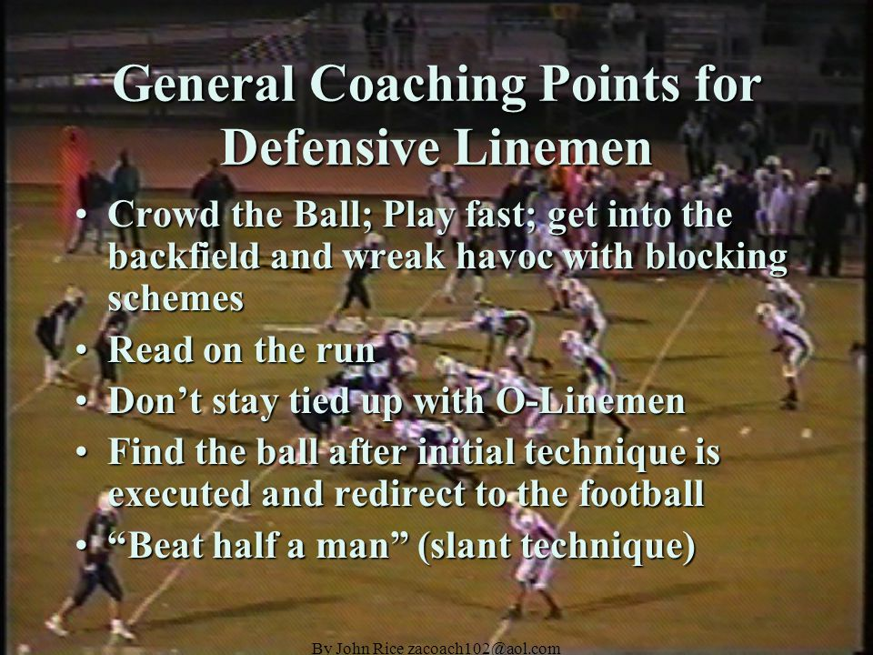 By John Rice zacoach102@aol.com 30 Stack Personnel Defensive LinemenDefensive Linemen The line will consist of two five technique Ends and a zero technique Nose.The line will consist of two five technique Ends and a zero technique Nose.