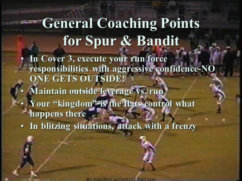 By John Rice zacoach102@aol.com 30 Stack Personnel Outside Linebacker-Strong Safety HybridsOutside Linebacker-Strong Safety Hybrids The Spur will align to the formation strength (to a TE in a pro set).