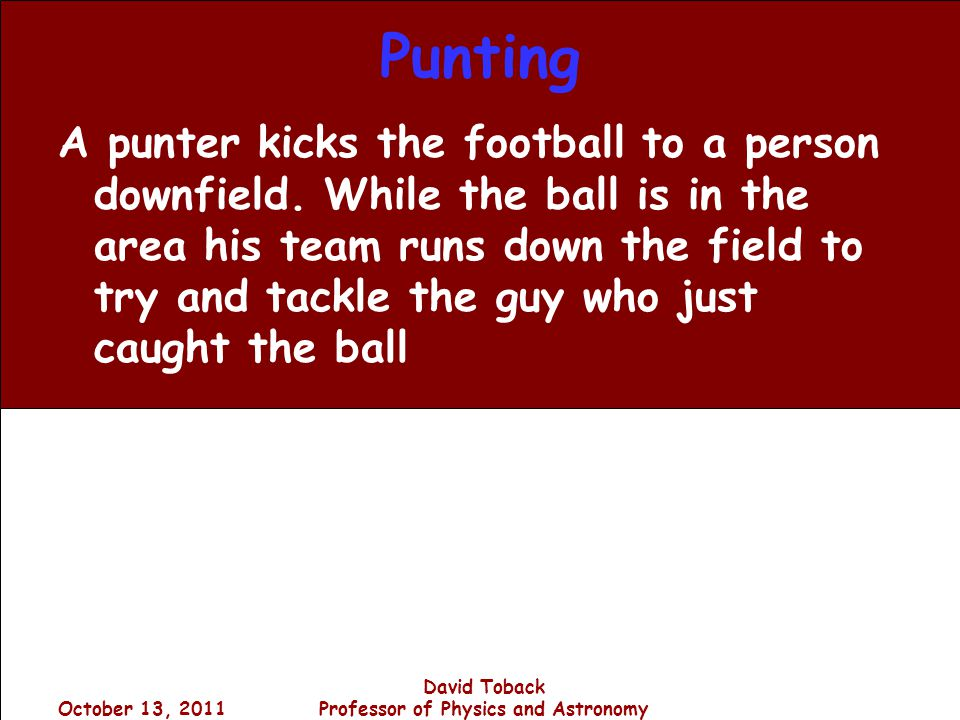 October 13, 2011 David Toback Professor of Physics and Astronomy Punting A punter kicks the football to a person downfield.