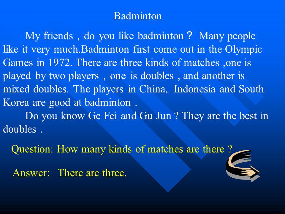 Badminton My friends do you like badminton Many people like it very much.Badminton first come out in the Olympic Games in 1972.