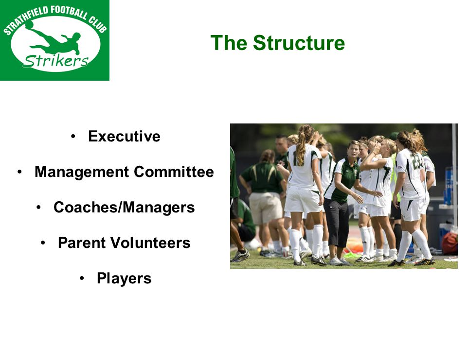 Executive Management Committee Coaches/Managers Parent Volunteers Players The Structure