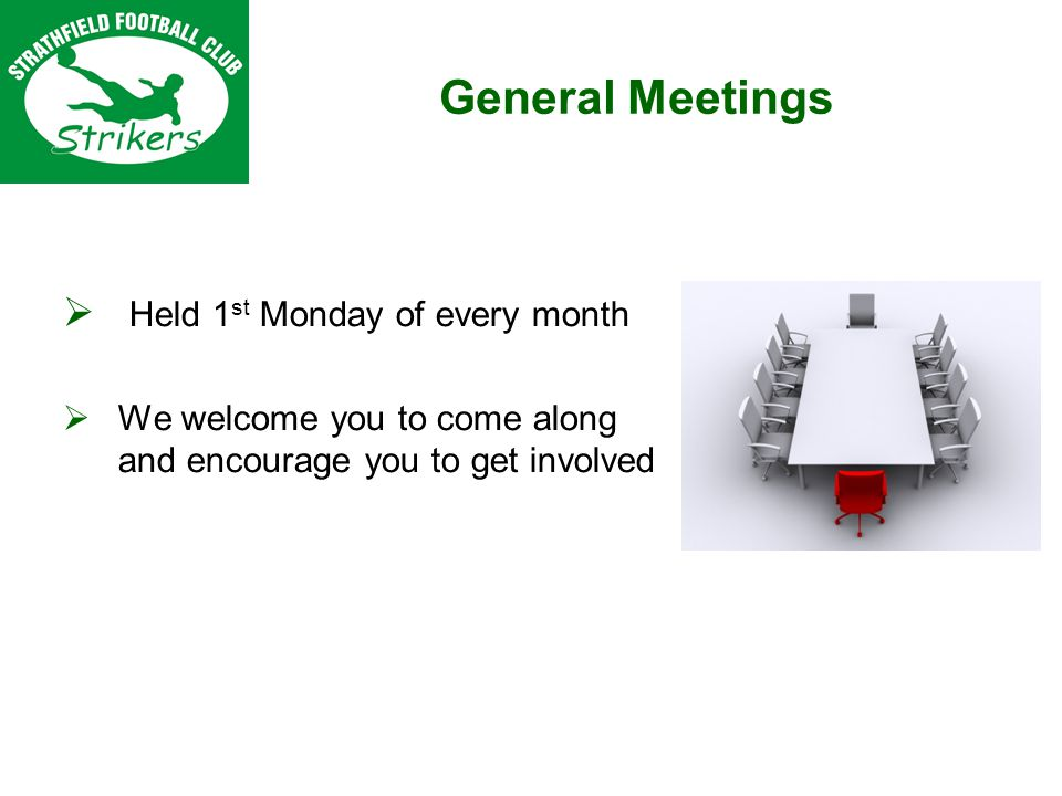 General Meetings Held 1 st Monday of every month We welcome you to come along and encourage you to get involved